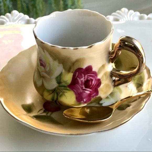 Leffon Fine Bone China Roses Cup & Saucer + Spoon